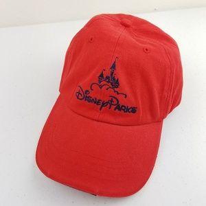 DISNEY PARKS Red Adjustable Ball Cap Hat
